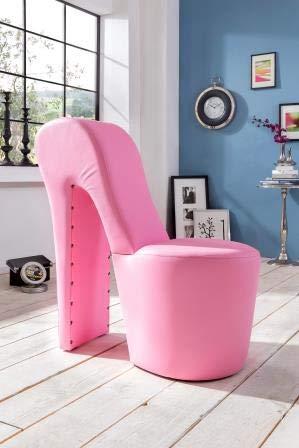 Generisch High Heel Schuhsessel 42x99x79cm Stuhl Designersessel mit Nieten (rosa)