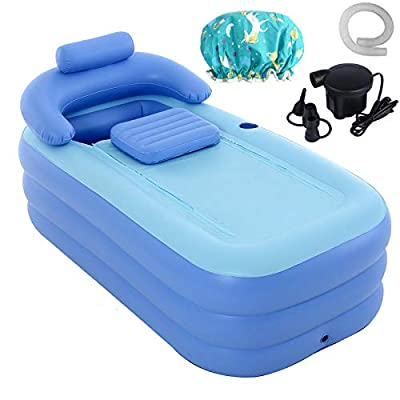 Inflatable Adult Bath Tub with Electric Air Pump, Free-Standing Blow Up Bathtub with Foldable Portable Feature High-Density PVC Hot Tub for Bathroom Spa