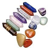 NaiCasy Piedras de Chakra de la energía Natural de Piedra curativo 7 Chakra Hexagonal Columna de Cristal Piedras de decoración para 14PCS La preocupación de relajación meditación curativa Terapia