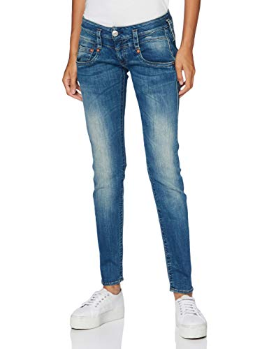Herrlicher Damen Pitch Slim Denim Powerstretch Jeans, Blau (Bliss 634), W28/L32