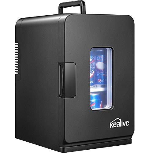 Mini Frigo de Chambre, 15L Mini Réfrigérateur Voiture Portatif 12V/220V pour Voiture avec Étagère Démontable