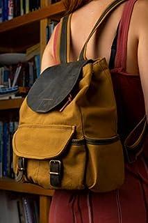 LeatherWorksAtelier Leinwand Handgefertigte Damen Rucksack, Mini Leder Rucksack, Senf