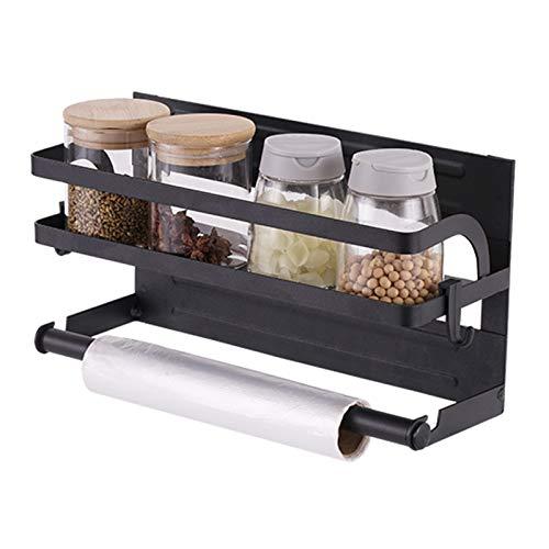 PIGPIGFLY Estante Lateral Nevera,Especiero Magnético para refrigerador con Gancho, Soporte para Toallas de Papel, especiero Cocina Pared,para Frigoríficos y Superficies de Metal