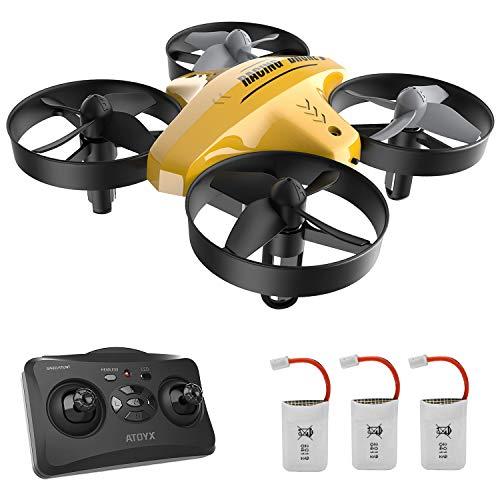 Mini Dron para niños, función de Hovering, modo sin cabeza, rotación de 360°, descuello/encendido con un botón, velocidad ajustable, protecciones a 360°, apto para niños y principiantes (yellow)