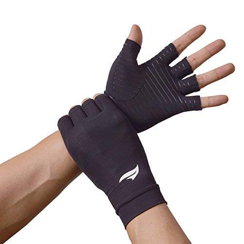 BANILLUE Copper Balance Compression Arthritis Gloves – Guaranteed Copper Infused Fit Fingerless Glove to Speed Up Recovery & Relieve Symptoms of Arthritis, RSI, Tendonitis & More – 1 Pair