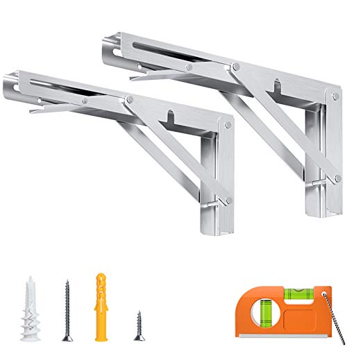 LuckIn Sturdy Folding Shelf Bracket, Stainless Steel Collapsible Bracket for Wall Mount Fold Down Table Workbench and RV, Heavy Duty Locking Hinges L Bracket 12 Inches, 2 Pack Silver