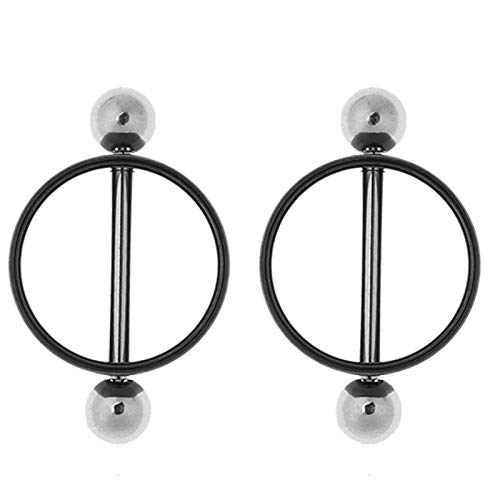 CHICTRY Sexy Adult Body Piercing Ring Nipple Clamp Breast Clamp Non-Pierced Nipple Shields Ring Screw Clip on Body Jewelry Black A One Size