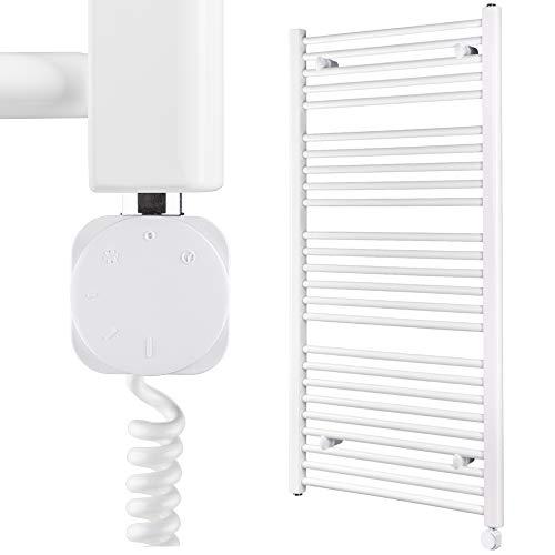 HEATSUPPLY® Handtuchheizkörper elektrisch 1142 x 600mm weiß - Badheizkörper elektrisch - Moderne Badheizkörper Handtuchhalter Heizung inkl. Heizstab No. 5 mit 600 Watt Leistung und Smart Thermostat