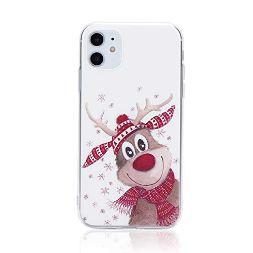 Reindeer iPhone 11 Case, Cartoon Reindeer Santa Elk Soft TPU Bumper Case for iPhone 11 Cute Back Cover