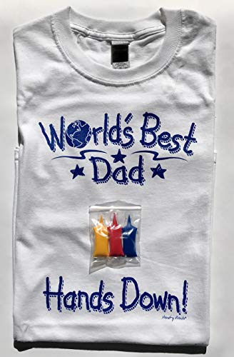 Hand-y Tees World's Best Dad T-Shirt, X-Large, White