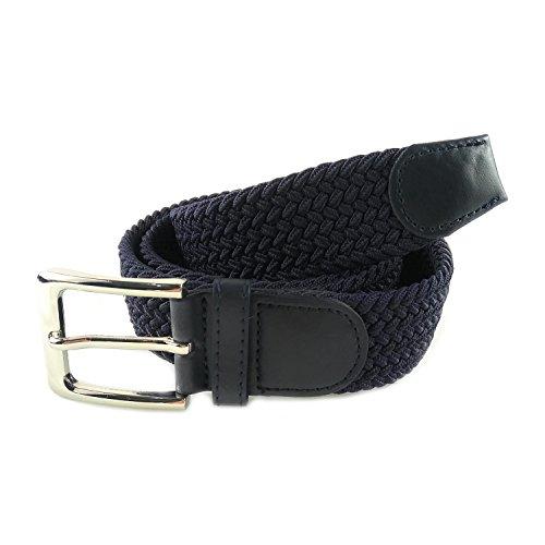 MYB Cintura elastica intrecciata per Uomo e Donna - diversi colori e dimensioni (105-110 cm, Blu Navy)