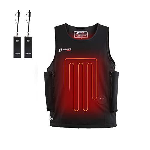 Venture Heat Waterproof Battery Heated Vest, 40W Diving Wet Suit with Wrist Remote - Surfing, Snorkling, Scuba Gear (L)