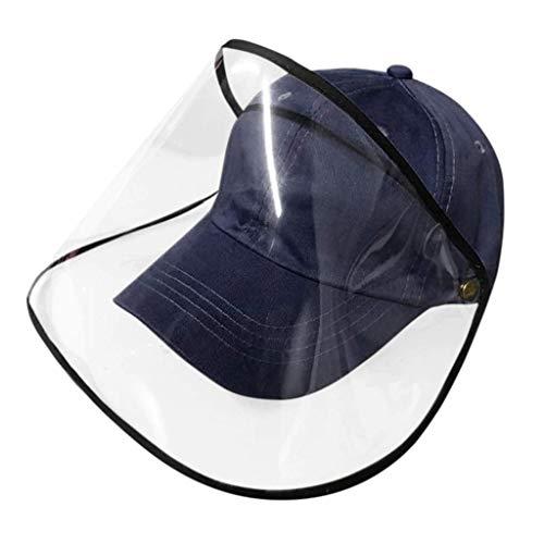 FUN FAN LINE - Cappellino da Baseball con Schermo o Maschera Protettiva Trasparente per la Sicurezza. Protezione per Il Viso. (Blu Navy)