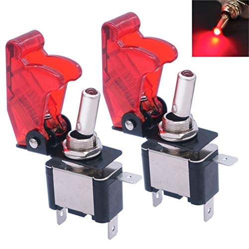 mxuteuk ASW-07D-RMZ - Interruptor basculante LED ligero de alto rendimiento con cubierta roja impermeable SPST ON/OFF 2 pines para automóviles, camiones, barcos
