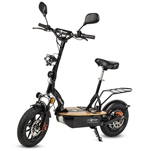 Patiente eléctrico Renton - Patinete/Scooter eléctrico dos ruedas con sillín, plegable, luz LED frontal, retrovisores, supensión, motor 1200W, velocidad hasta 35-40km/h, autonomía hasta 20-25km. Ideal para la ciudad.