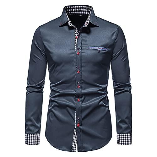 SSBZYES Camisas para Hombres Camisas De Manga Larga para Hombres Camisas De Color Sólido Camisas para Hombres De Manga Larga Delgadas con Bloques De Color Camisas Informales Camisas Abotonadas
