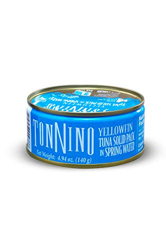 Tonnino Tuna Fillets Low Calorie and Gluten Free Yellowfin Canend Premium Tuna in Spring Water 4 Oz [2 pack]