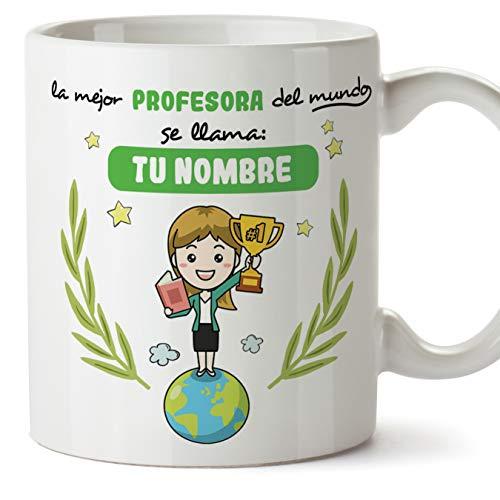Profesora Tazas originales personalizadas con tu nombre de café y desayuno para regalar - Esta taza pertenece a la mejor profesora del universo - Cerámica 350 ml - Magisterio maestra Personalizable