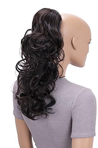 PRETTYSHOP 45cm Haarteil Zopf Pferdeschwanz Haarverlängerung Voluminös Gewellt Schwarz Dunkelbraun Mix PH34