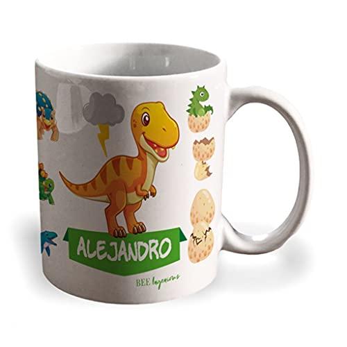 BEE INGENIOUS Taza dinosaurio personalizada con nombre.Regalos Niños y Niñas Personalizado.Tazas Personalizadas de Cerámica. (Tyrannosaurus)