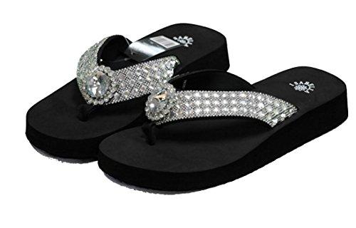 Isabella Women Flip Flop Flat Western Crystal Concho Slipper Bling Rhinestone Sandals (M) Black