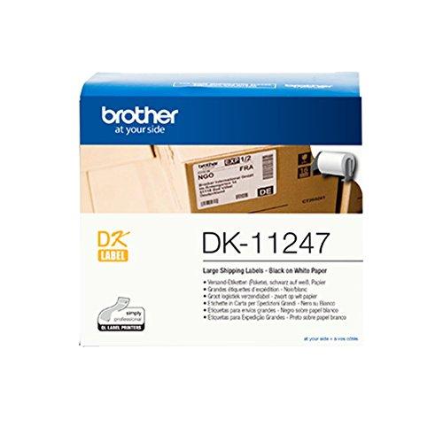 Brother DK-11247 selbstklebende Einzeletiketten (103 mm x 164 mm, geeignet für QL-1050, QL-1050N, QL-1060N, QL-1100, QL-1110NWB) schwarz auf weiß (Papier)
