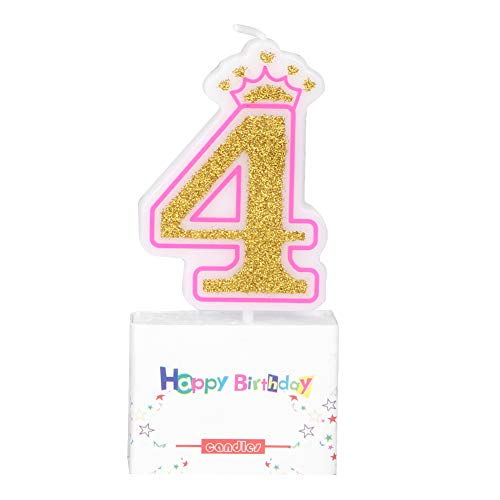 Camidy Kids Birthday Cake Numeral Candles, Smoke Free Crown Cake Candles Numbers Age 0-8 Glitter Happy Birthday Cake Topper Decoration