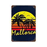 FLNUMDUXG Mallorca - Mural de hierro con diseño de sol vintage, 11,8 x 7,9 cm, pintura de óxido retro para interiores