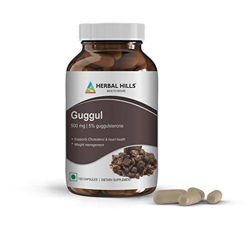 Herbal Hills Guggul Vegie Capsules with Arjuna Extract 1000 mg, 120 Vegie Capsules   Healthy Cardiovascular function *