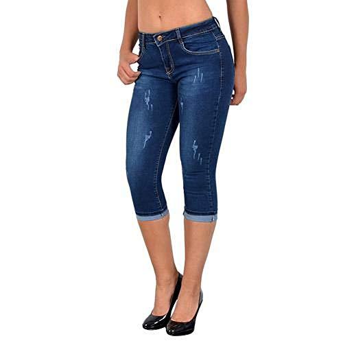 Tallas Grandes Moda Verano Mujeres Cintura Alta Jeans Ajustados hasta la Rodilla Agujero Rasgado Denim Capri Slim Streetwear Stretch Casual Pants