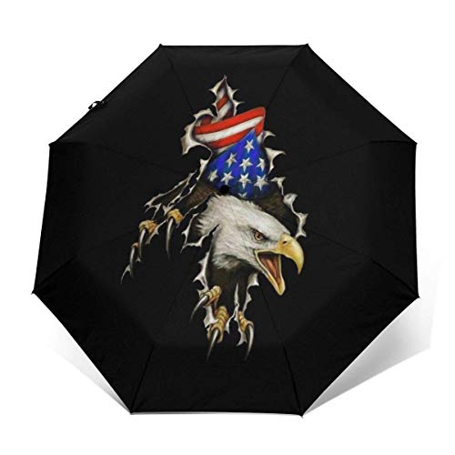 Paraguas de Viaje Plegable de Apertura y Cierre automático Águila Calva Separarse de los EE. UU. Bandera Estadounidense Sombrillas de Lluvia Plegables portátiles