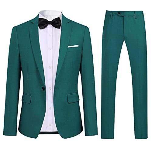 Allthemen Allthemen Anzug Herren Anzug Slim Fit Herrenanzug Anzüge Anzug Hochzeit Business Grün XL