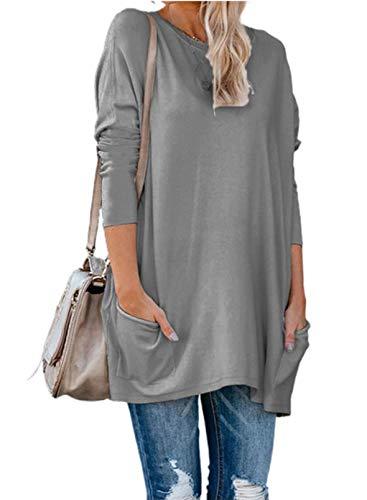 FOBEXISS Blusa para mujer, color sólido, cuello redondo, manga larga, bolsillos laterales, casual, tallas grandes