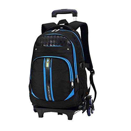 LLYDIANMochila Junior para Niños 3D Morral de la escuela del estudiante, estudiante de escuela bolsa de viaje portátil de 6 ruedas carro portátil maleta mochila portátil de la mochila del morral de la