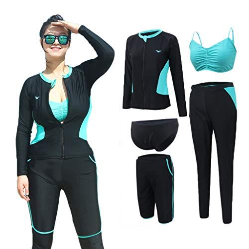 Schwimmen Neoprenanzug Frauen Tauchanzug 5 Stück Set Dünger hinzufügen Large Size Langarm Mit Brustpolster Elastischer Reißverschluss Sonnencreme Segel Badeanzug Kanu Weiblich MUMUJIN (Size : 3XL)