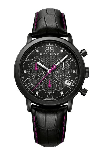 88 Rue Du Rhone Ladies Black Leather Chronograph Diamond Set Watch...