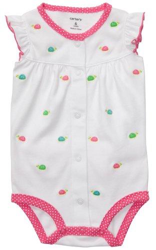 Carter's zomer babyspeler rompers onesie meisje meisje jumpsuit één stuk (6 maanden, groen/wit)