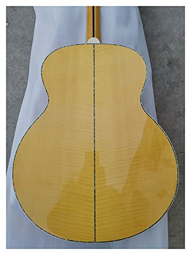 chudana Custom AAAA Solid Wood Acoustic Guitar Amber Solid Flame Maple Guitar Suitable for Players at All Stages. Wooden Guitar (Color : Guitar, Size : 43 inches)