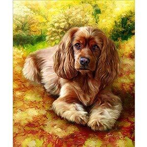 JSDJZSH Full 5D Pug Dog, Yorkshire, Golden Retriever Mosaico Regalos DIY Perros Encantadores Pintura Diamante Punto de Cruz Bordado de Diamantes Redondos