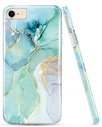LUOLNH Compatible with iPhone SE 2020 Case,iPhone 7 8 Case,Marble Design,Shockproof Clear Bumper TPU Soft Case Rubber Silicone Skin Cover Case for iPhone 6 6s 7 8(Abstract Mint)