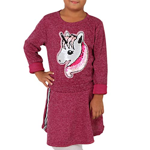 Candygirls Vestido infantil de unicornio reversible con lentejuelas, sudadera de punto plateada...
