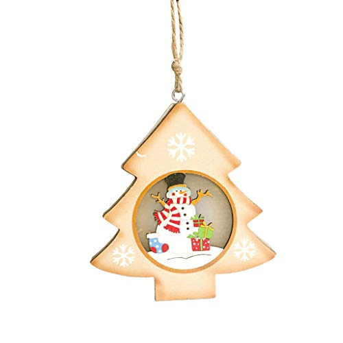 Iusun Wood Painted Snowman Light Card Christmas Tree Decorations Hanging Ornament Dress Up Pendant DIY Xmas Window Decor for Wedding Party Holiday New Year