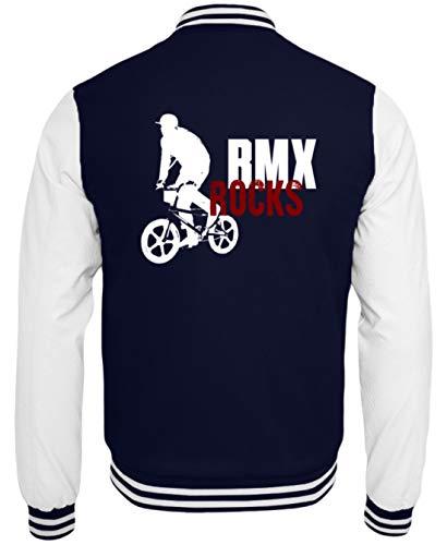 Desconocido BMX Rocks! Chaqueta de Ciclismo BMX para Hombre y Mujer, diseño Sencillo y Divertido