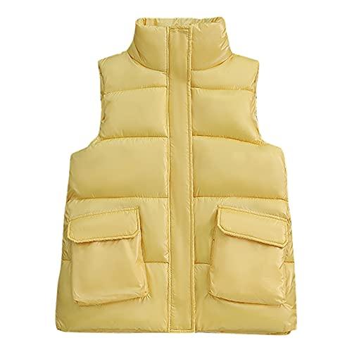 Chaleco de cuero para las mujeres sólido cuello algodón lona suave suave suave chaqueta Softshell ropa exterior con bolsillos bronce