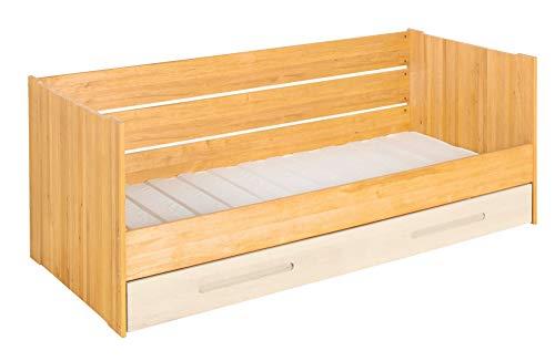 BioKinder Lina-slaapbank Functioneel bed Slaapbank met matrasbedbodem incl. vloer en lattenbodem van massief hout elzen en grenen 90 x 200 cm, bedbodem wit gelakt