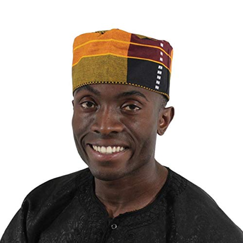 OMAQA Kente Kufi Hat Style #3:Men Cap | Fashion African Print Fabric (Multicolor)