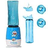 WAZS 4 In 1 Frullatore Tritatutto Multifunzione Omogeneizzatore per Bambini, Tritatutto da Cucina Elettrico Piccolo con 2 bottiglie 2 lame 600ml Capacity Blender Perfetto per Latte di Frutta Blu