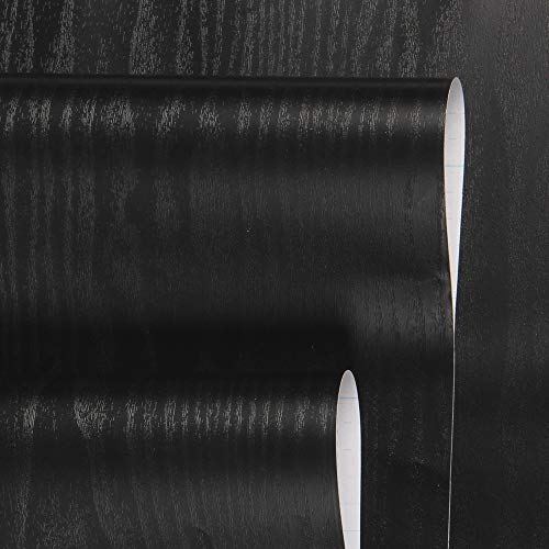 17.7x118''Black Wood Grain Contact Paper Textured Wood Paper Matte Self Adhesive Film Peel and Stick Wood Waterproof Removable Vinyl Shelf Drawer Liner Wall Covering Decoration Furniture Renovation