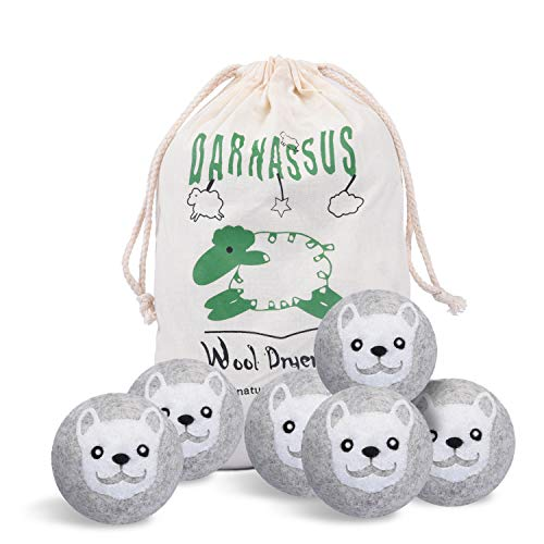 Wool Dryer Balls 6 Pack XL, Organic Natural Fabric Softener, Reusable, Chemical Free and Reduces Clothing Wrinkles, Baby Safe, Reducing Static & Drying Time, Gray