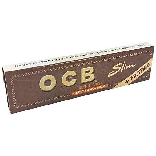 10 x OCB virgin brown kS slim papier à cigarettes avec filtres (10 x 32/32 filtre non blanchi) tips brun